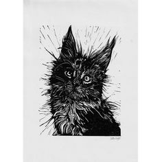 Ink Pen Drawings, Animal Sketches, Linocut Prints, Pet Portraits, Printmaking, Poppy, How To Draw Hands, Kittens, Artsy
