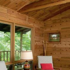 Rustic Western Red Cedar paneling - for a cozy cabin with a rustic luxe design Cedar Paneling, Wood Paneling, Beadboard Wainscoting, Wall Paneling, Western Red Cedar, Wainscoting, Rustic Luxe, Cozy Cabin, Cedar Walls