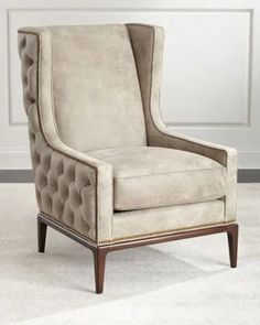HB1P7 Ambella Idris Tufted-Back Leather Wing Chair