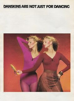 September 'Danskins are not just for dancing. Disco Fashion, 70s Fashion, Vintage Advertisements, Vintage Ads, You Should Be Dancing, 80s Workout, 70s Glam, Magazine Images, Seventeen Magazine