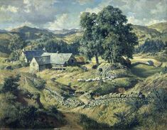 ' Boreland Mill, Kirkmichael 1950 ' by James McIntosh Patrick (Scottish Landscape Art, Landscape Paintings, Glasgow School Of Art, European Paintings, Your Paintings, Nature Paintings, Art Uk, Medieval Fantasy, Beautiful Landscapes