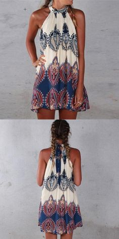 254251021304e 2017 New Sexy Summer Dress Boho Women Dress Printed Halter Style Sleeveless  Beach Party Mini Dresses