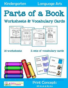 Part of a Book Worksheets and Vocabulary Cards - Check out this made for kindergarten set of 16 worksheets and 2 sets of vocabulary cards. They work hand in hand to teach kids about the parts of a book and the job of authors and illustrators. Please click Kindergarten Language Arts, Kindergarten Books, Concepts Of Print, Parts Of A Book, Reading Activities, Reading Tips, Guided Reading, Library Lessons, Library Ideas