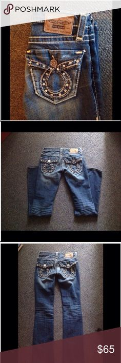 """Big Star Liv Flap Pocket Rhinestone Jeans 24 L Nice pair of Big Star Liv Slim Boot Jeans. Flap pocket with rhinestones. Marked size 24. 98% cotton 2% spandex. Actual waist 29"""" Rise 6 3/4"""" Inseam 33"""" . Great condition Big Star Jeans"""