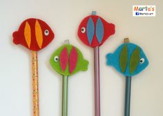 felt pencil toppers Felt Crafts, Diy And Crafts, Crafts For Kids, Under The Sea Crafts, Pen Toppers, Bible School Crafts, Ocean Crafts, Operation Christmas Child, Christmas Crackers