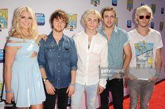 Rydel Lynch, Ellington Ratliff, Ross Lynch, Rocky Lynch and Riker Lynch of the band R5 attend the premiere of 'Teen Beach 2' at Walt Disney Studios on June 22, 2015 in Burbank, California.