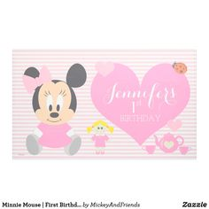 Minnie Mouse | First Birthday Banner. #ad #firstbirthdaybanner Minnie Mouse First Birthday, First Birthday Banners, Girl First Birthday, Happy Birthday, Disney Invitations, Birthday Invitations, 100 Day Celebration, Disney Cards, Outdoor Banners