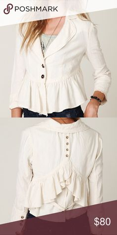Free People Cropped Ruffle Peplum Jacket Jacket with ruffled hem and lace trimmed cuffs. Draped back with button and buckle detail. Three buttons at cuffs. 2-button front placket. 55% Linen, 45% Cotton. Dry Clean Only. Import. Free People Jackets & Coats Blazers