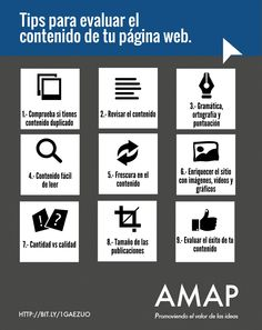 Tips para evaluar el contenido de tu página web.