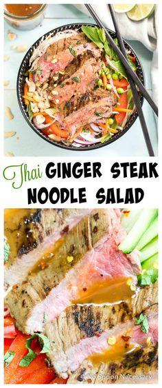Thai Ginger Steak Noodle Salad with Thai Vinaigrette.