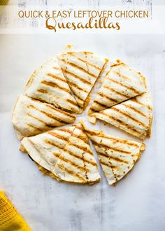 Quick and Easy Leftover Chicken Quesadillas - instead of cream cheese use greek yogurt and add black beans