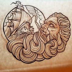 "Chris Gemmell on Instagram: ""Sketched up this Poseidon nautical design lastnight.Its available to be tattooed. Ideal for a pectoral/chest piece. *%100 custom design…"""