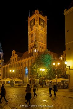 Old City Town Hall In Torun - Old Town Market Square by night in Torun, Poland