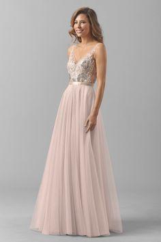 Pretty blush Watters bridesmaid dress: http://www.stylemepretty.com/2016/02/22/taylor-swift-maid-of-honor-dress-britany-maack/