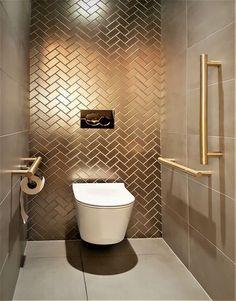 Small Toilet Room, Small Bathroom, Bathroom Design Luxury, Modern Bathroom Design, Dream Home Design, Home Interior Design, Wc Decoration, Downstairs Toilet, Toilet Design
