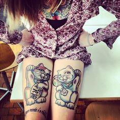 Lucky cat tattoos!