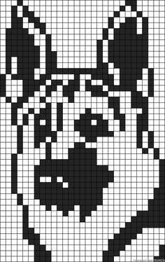 Knitting charts dog perler beads 19 new ideas Alpha Patterns, Loom Patterns, Beading Patterns, Cross Stitch Charts, Cross Stitch Designs, Cross Stitch Patterns, Pixel Pattern, Dog Pattern, Cross Stitching