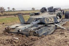 A destroyed Abrams M1A1 Main Battle Tank near Sayyid Abd, Iraq during Operation Iraqu Freedom April 2003. Watch video of the