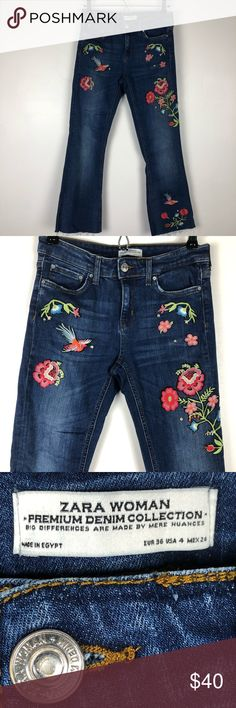 273ae065 ZARA Woman Floral Embroidered Jeans Super Cute ZARA Woman Floral  Embroidered Jeans with stuffed accents and