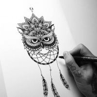 Attractive dotwork owl and dream catcher with mandala flower tattoo design