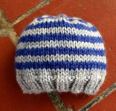 Gray and Navy Blue Striped Knit Hat for Baby or Child on Etsy, $27.00
