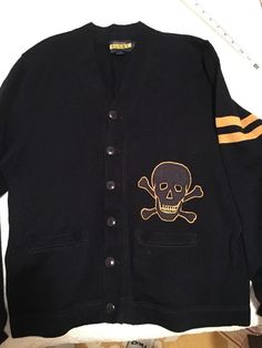 8aa2a4c541e Details about RARE RUGBY by RALPH LAUREN Navy BLUE VARSITY LETTER SKULL  CARDIGAN Letterman L