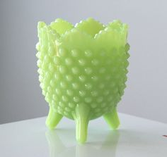 Fenton Jadite Hobnail Footed Planter with Label by jaditekate, $40.00  I love this stuff!!