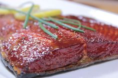 Maple Glazed Smoked Salmon - Smoking Meat Newsletter This maple glazed smoked salmon recipe is easy to make and goes into great detail showing you how to brine, dry, smoke and glaze the salmon to perfection. Smoked Salmon Brine, Smoked Salmon Recipes, Smoked Fish, Glazed Salmon, Maple Salmon, Smoked Trout, Traeger Recipes, Grilling Recipes, Fish Recipes