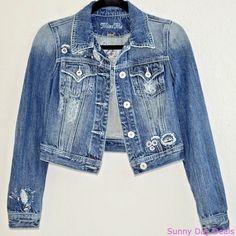 Miss Me Jeans Jacket Cotton Denim Cropped JJ5038A Rhinestone Floral Boho Blue S #MissMe #JeanJacket #Versatile