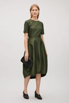 COS image 1 of Short sleeve cotton-silk dress in Olive Green