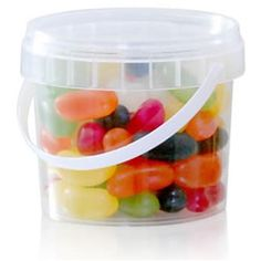 Printed Sweet Buckets filled with a delicious choice of well known chocolate, sweets, mints or even mixed nuts. Packaged and personalised in the UK with your branding applied to a high quality sticker which is placed onto the top of the lid in eye catching full colour. A perfect gift idea that would be a hit at any event for all ages. Tuck in and enjoy these sweet tubs while keeping your branding on show.Individual sweet tub weight is subject to choice of ...