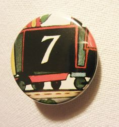 Choo choo! Number 7 Engine pinback button (badge)
