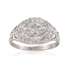 C. 1960 Vintage 1.35 ct. t.w. Diamond Ring in Platinum. Size 9