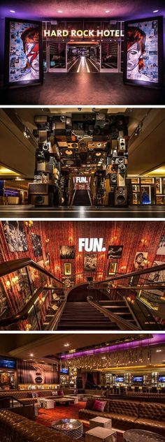Mister Important Design designed the interiors for the Hard Rock Hotel in Palm Springs, California. Lounge Bar, Lounge Design, Hard Rock Hotel, Cafe Bar, Rock Bar, Nightclub Design, Palm Springs Hotels, We Will Rock You, Commercial Design