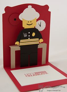 Pop Up Lego City Fireman Birthday Card - Inside Pop 'n' Cuts, Dress Form, Lego City Fire Chief, Punch Art Joanne James, www.blog.thecraftyowl.co.uk