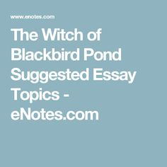 The Witch of Blackbird Pond Suggested Essay Topics - eNotes.com