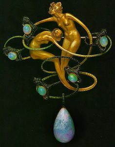 """detournementsmineurs: """" """"Dragonfly Woman"""" corsage ornament by René Lalique in gold, enamel, chrysoprase, moonstones and diamonds, circa 1897-98. """""""