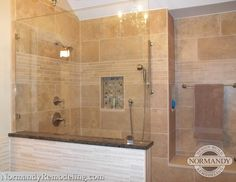 Walk In Shower Designs Without Doors Pictures Created By Normandy Designer Laura Barber TILES
