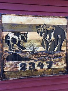 Reclaimed wood carving sign