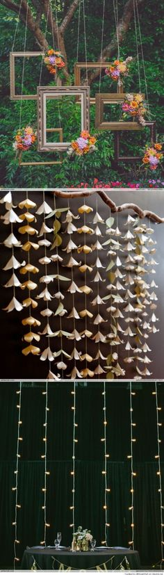 DIY Paper Flower Backdrop Garland and other paper flower ideas Paper Flower Garlands, Paper Flower Backdrop, Diy Flowers, Hanging Flowers, White Paper Flowers, Paper Flower Wall, Flowers Decoration, Flower Diy, Bouquet Flowers