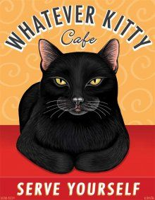 Black Cat - Whatever Kitty Cafe - 8x10 Art Print - Fun