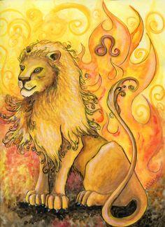 Watercolor - Star Sign - Leo - Print from Original Paintings - Zodiac Series