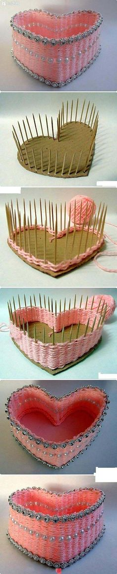 DIY THINGS — DIY Heart Box diy crafts craft ideas easy crafts diy ideas diy idea diy home easy diy for the home crafty decor home ideas diy organizing diy box Cute Crafts, Crafts To Do, Creative Crafts, Easy Crafts, Crafts For Kids, Arts And Crafts, Decor Crafts, Diy Projects To Try, Craft Projects