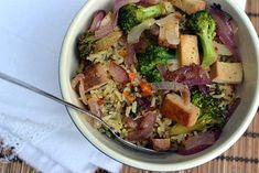 Brown Rice - Vegetable Bowl with Tahini Dressing Recipe | cookshideout