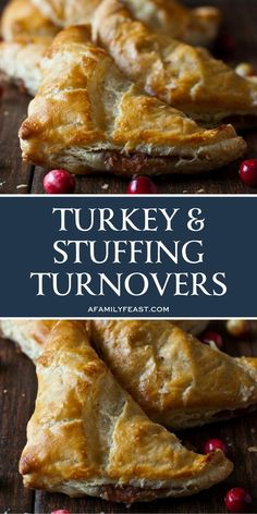 These turkey & stuffing turnovers are all about finding ways to use up those leftovers, and in fact, they are just like a delicious Thanksgiving dinner all rolled up into one delectable bite! Chunks of leftover turkey are layered inside squares of puff p Thanksgiving Leftover Recipes, Leftover Turkey Recipes, Leftovers Recipes, Thanksgiving Leftovers, Thanksgiving Appetizers, Thanksgiving Dinners, Cooked Chicken Recipes Leftovers, Easy Turkey Recipes, Turkey Leftovers