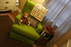 a pair of green chairs? i love the classic arm chair shape. ( but lower in the back)