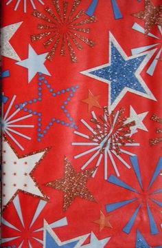 Assorted Sizes Festive FireworksStars July 4th Vinyl /Flannel Back Tablecloth    #Elrene