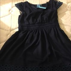 Sweet navy dress Very cute, another sad reposh! Size large but has no stretch so would recommend more for a medium. ModCloth Dresses
