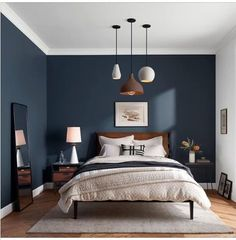 a beautiful classic bedroom design design classic bedroom .a beautiful classic bedroom design design classic bedroom beautiful a Walnut Residence with glass wall opens to the back yard - decoration ideasWalnut Residence with glass wall Dark Accent Walls, Dark Blue Walls, Blue Painted Walls, Home Decor Bedroom, Bedroom Furniture, Living Room Decor, Bedroom Ideas, Furniture Ideas, Bedroom Bed
