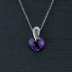 Amethyst Heart Pendant with Diamond Accent